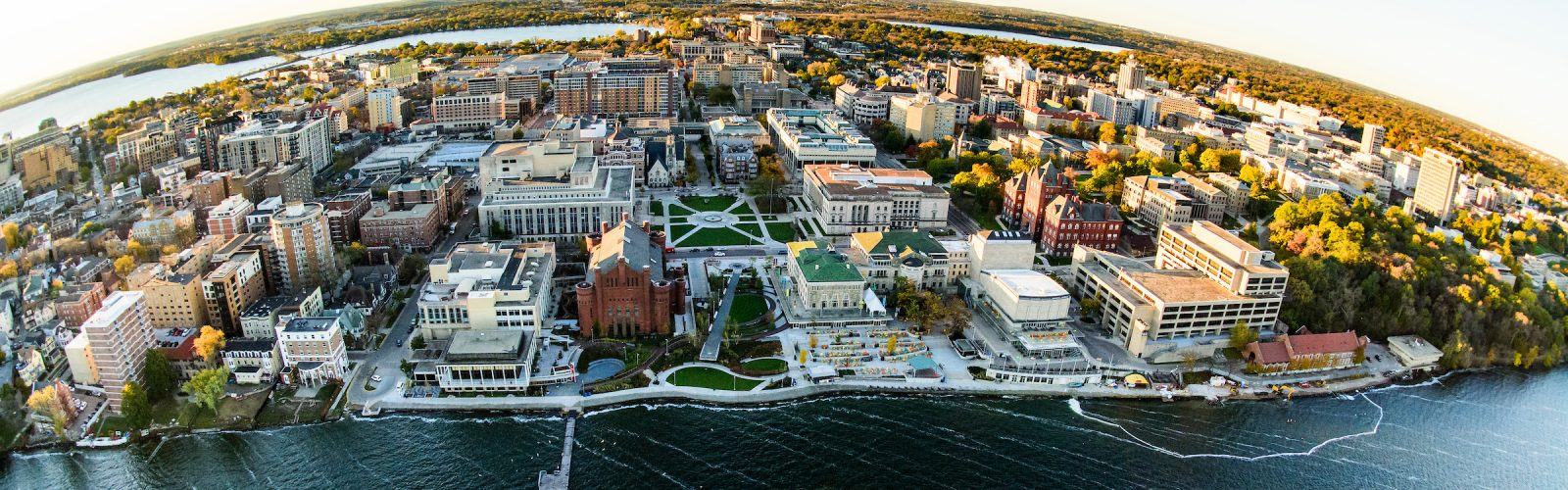 Aerial view of downtown part of the UW-Madison campus